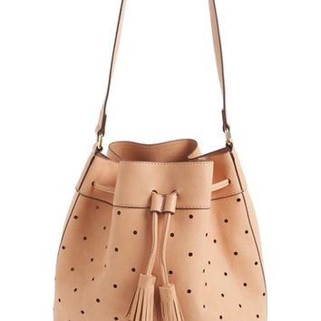 Sole Society 'Kattia' Perforated Faux Leather Drawstring Bucket Bag | Nordstrom