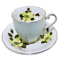 Yellow Roses Green Teacup Set, Royal Grafton, Floral Footed Cup and Saucer, Fine Bone China