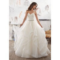 Blu by Morilee Marissa 5504 Strapless Flounced Ball Gown Wedding Dress