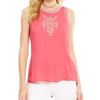 Jessica Simpson Patxi Embroidered Crepe Sleeveless Top | Dillards