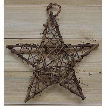 "Natural Twig Wrapped 10"" Star"