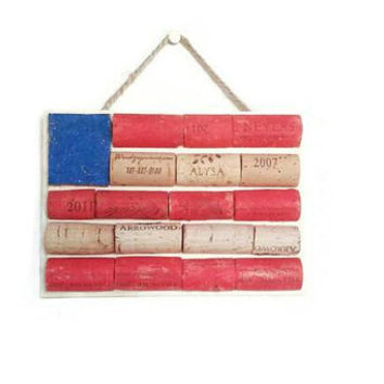 Rustic decor USA wine cork flag | red white blue