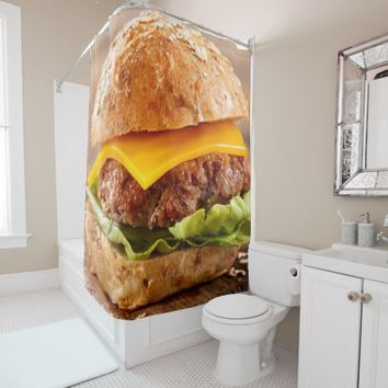 CHEESEBURGER !!! CHEESEBURGER!! CHEESEBURGER!!!! SHOWER CURTAIN