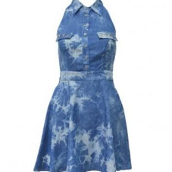 Tie-dye Backless Lapel Collar Sleeveless Denim Dress