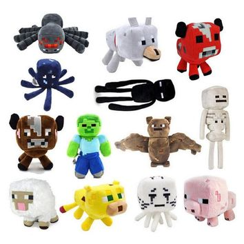 Minecraft Plush Toys 16-26cm Minecraft Creeper Enderman Wolf Steve Zombie Spider Sketelon Plush Stuffed Toys for Kids Baby Toys
