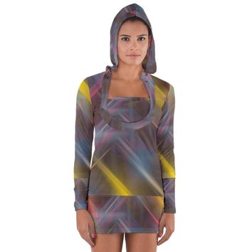 Fractals Stripes Women's Long Sleeve Hooded T Shirt Long Sleeve Hooded T-shirt