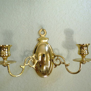 Double Candle Sconce Solid Brass Holder Hollywood Regency Wall Decor
