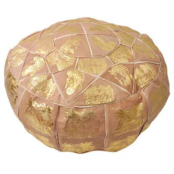 Gold and Genuine Leather Storage Ottoman Pouf