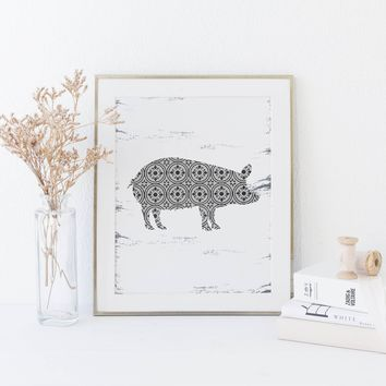 Modern Farmhouse Pig Art Print