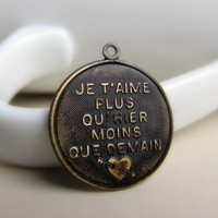 1 Solid Brass French Pendant, Hand .. on Luulla