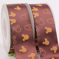 "Disney Mickey Mouse on Dark Brown Satin Ribbon/ 1.5 ""( 38mm ) width / Head band / DIY Hair bow / Wedding Supplies /"