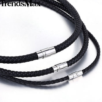 Trendsmax 4/6/8mm 14-40inch Black Braided Cord Rope Chain Friendship Man-made Leather Necklace Stainless Steel Clasp UNM09