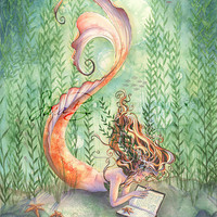 Goldfish Mermaid with Book Print  Seaweed by sarambutcher on Etsy