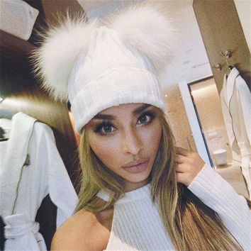 2016 Fur Pom Poms Winter Beanies For Woman Knitted Hat Balaclava Fur Hat Knitted Thick Female Cap Character Woman Casual Hats