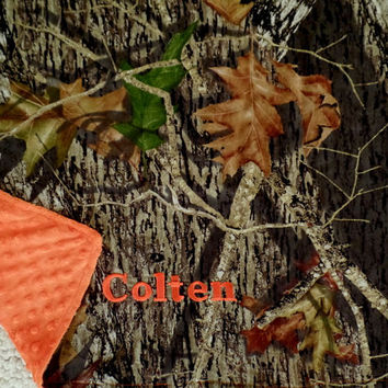 MOSSY OAK camo camouflage baby girl boy orange stroller car seat blanket lovie nursery with embroidery