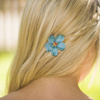 Small Teal Flower Hair Accessory with Multicolored Center