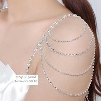 Chic & Sexy! StrapN'Guard® New Dress Style Crystal Shoulder Pin-Straps for Bra and Clothing, Prevents Strapless Slippage, Perfect for Women Dress Gown; Wedding Dress, Prom Dress, Formal Dance, Holiday and Gift