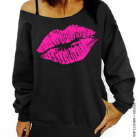 Lipstick Kiss - Valentine's Day - Black with Pink Slouchy Oversized Sweatshirt