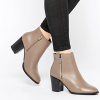 Faith Sandi Taupe Leather Zip Heeled Boots at asos.com