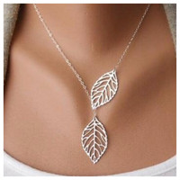 Beautiful Delicate and Dainty Dual Leaf Drop Necklace