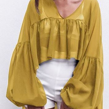 Yellow V-Neck Ruffle Design Drop Lantern Sleeve Top