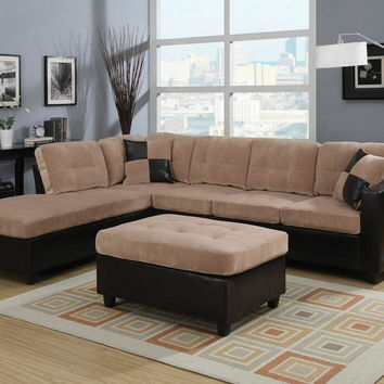 Acme 51230 2 pc milano collection two tone camel champion fabric and dark brown vinyl upholstered reversible chaise sectional sofa set