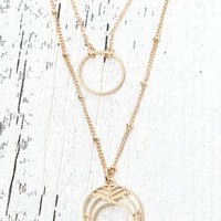 LA Hearts Delicate Double Horn Necklace - Womens Jewelry - Gold - One