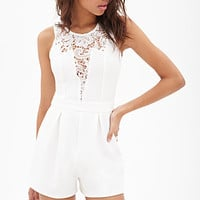 FOREVER 21 Lace-Paneled Ribbed Romper Cream Small