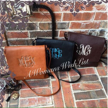 Monogrammed Crossbody Purse, Monogram CrossbodyBag, Crossbody Pocketbook Monogrammed