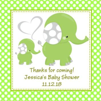 Green Elephant Baby Shower Favor Tags Polka Dot