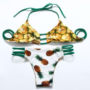 DCCKVQ8 Fashion Two Sides Wear Print Multi-rope Bandages Triangle T Underpant Straps Bikini Set Two-Piece Swimwear