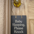 $13.95 Baby Sleeping Please Knock wood sign by morethanletters on Etsy