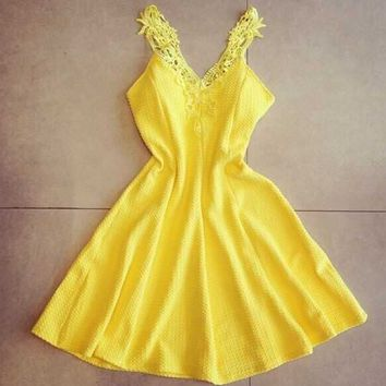 Yellow Lace Strap Flare Dress