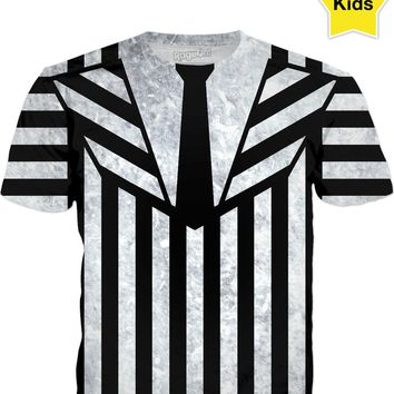 Halloween Beetlejuice suit kids tee shirt 2, black and white vertical and horizontal stripes