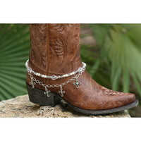 Boot Candy Boot Candy White Crystals, Pearls and Crosses
