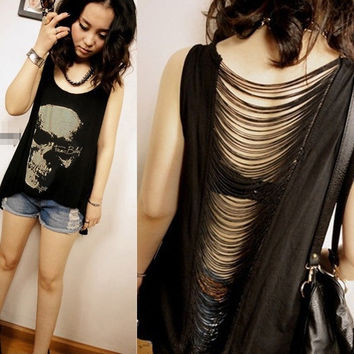S-XXXL Punk Women Skull Long Tee Shirt Singlet Backless Vest Tank Top Blouse = 1929996612