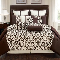 10 Piece Queen Via Bella Chocolate and Taupe Comforter Set