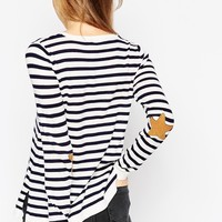 ASOS Jumper in Stripe with Star Elbow Patches at asos.com