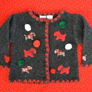 18 months Ugly Christmas Sweater, kids, toddlers, girls, dogs, pom poms
