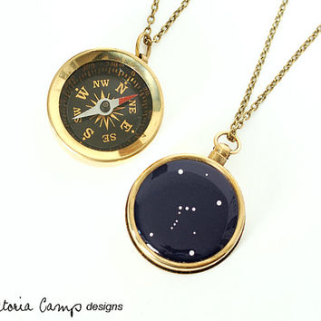Orion Constellation Necklace with Working Compass, Pocket Compass, Long Brass Chain, Stars, Astronomy