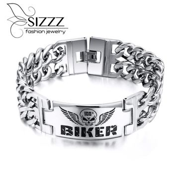 Fashion Stainless Steel Bracelets & Bangles Vintage Attractive Men Jewelry Personalized ID Charm Man Bracelet