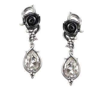 Alchemy Gothic Bacchanal Black Rose Teardrop Earrings