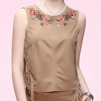 Apricot Ethnic Floral Fringed Tank Top