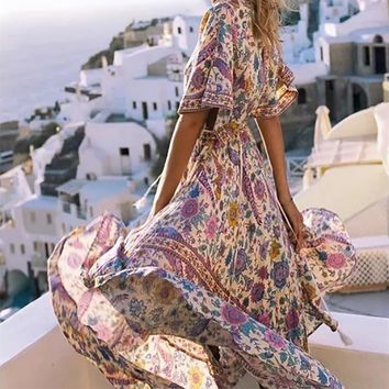 Boho Yellow Bird Floral Print Long Dress Retro Bohemian Maxi Dress Batwing Short Sleeve Ethnic Deep V Beach Dresses Hippie Robe