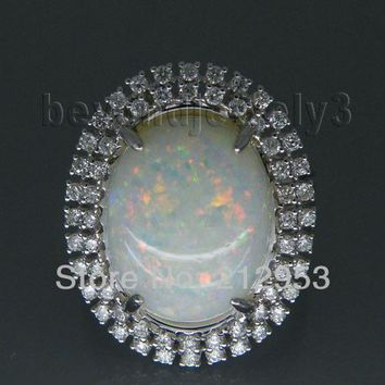 Vintage Oval 12x16mm Solid 18Kt White Gold Natural  Opal Ring  Fine Jewelry for Wife Birthday Loving Gift SR294