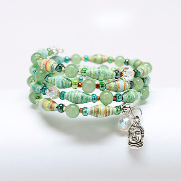 Buddha Charm Bracelet with green paper beads. Meditation and yoga jewelry.
