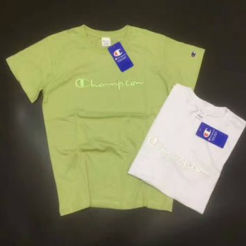 Champion green print loose short sleeve top tee T-shirt blouse H-A-XYCL