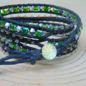 Four Wrap Macrame Bracelet w/Clear Glass Beads and Green Square Crystals