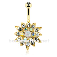 Golden Opal Chrysanthemum Flower Belly Button Ring 14ga Navel Ring Body Jewelry