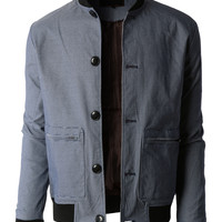 LE3NO Mens Lightweight Slim Fit Windbreaker Bomber Jacket (CLEARANCE)